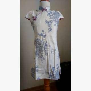 Qipao Blue Peony Chou Chou Chic baju anak girls' dress size 140