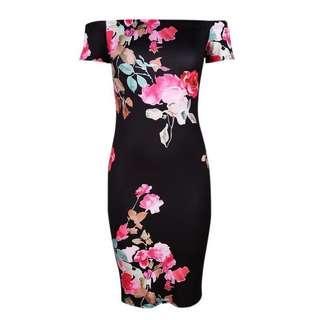 Floral Ambience Off Shoulder Dress
