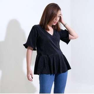 Black Pleated Overlap Peplum Top