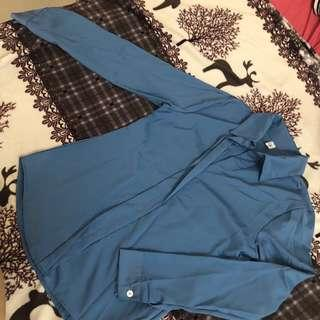 (BN) Blue Chiffon Blouse