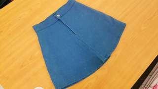 Blue High Waisted Denim Mini Skirt with Inner Safety Pants