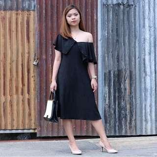 Black Pleated Asymmetric Dress