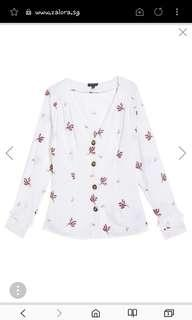 [BNIP] Topshop Embroidered Button Down Blouse