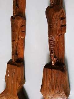 Wood Carved Fork Spoon