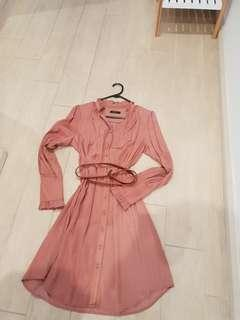 Coral blouse dress