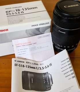 Lensa Canon EF-S 18-135mm f/3.5-5.6 IS Mint Condition