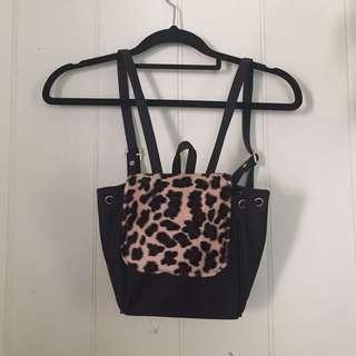 90s mini leopard print backpack