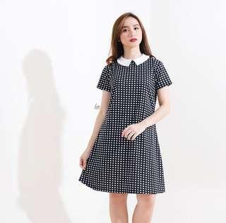 Black Gingham Collared A-Line Dress