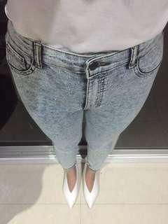 Acid Wash Blue Skinny Jeans