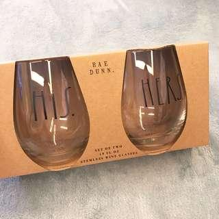 Rae Dunn His & Hers Wine Glasses