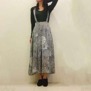牡丹花圖騰灰色吊帶雪紡洋裝 吊帶裙 吊帶長裙 長裙