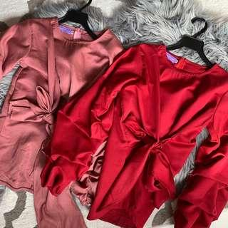 dusty pink and red blouse with puffy sleeves