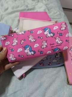 Pencil Case/Pouch unicorn (cloudy pinky=