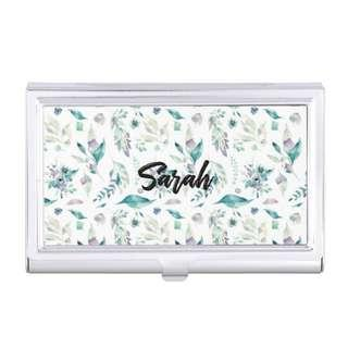 Personalised Name Floral Cardholder Silver Metal Customised Christmas Gifts