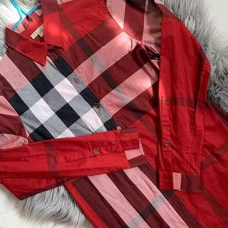 brand new burberry red checkered button shirt size XS retail $750