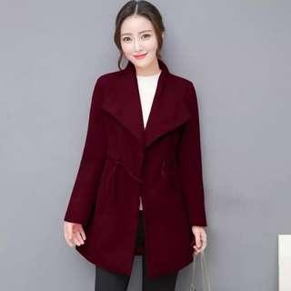 Wool trench coat wine red
