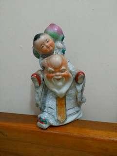 古董陶瓷 童子獻夀 壽星公