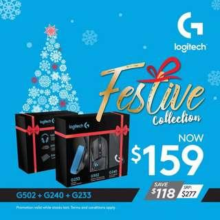 Logitech Festive Collection Gift Box (G502 Gaming Mouse + G240 Mousepad + G233 Headset)
