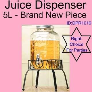Dispenser - Pitcher - Glass Dispenser - Brand New Piece