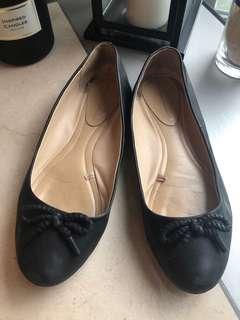 Zara black genuine leather flat shoes