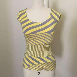 Yellow Grey Stripped Cotton Stretch T-Shirt #BlackFriday100