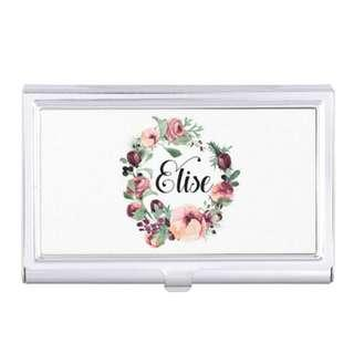 Christmas Floral Wreath Personalised Cardholder Name Cards Case Birthday Bridesmaid Gifts