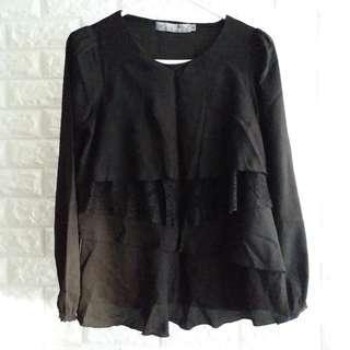 【服飾】K.a.t.e.長袖黑色雪紡上衣