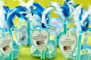 Baby Blue Boots Baptismal Give  - Aways