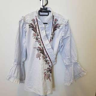 Zara embroided wrap blouse