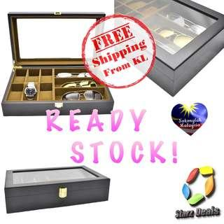 6 Slot Matte Black Wood Watch Display Storage Box + 3 Spectacles