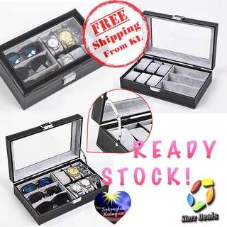 6 Slots PU Watch Display Storage Box + 3 Spectacles