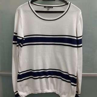 White & Blue Knitwear Sweater