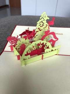 BN Handmade 3D pop up origami Merry Christmas card