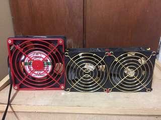 【二手良品】工業風扇2個 9X9公分 11.5X11.5公分