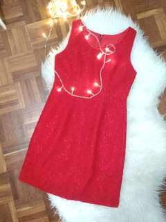 Red Cheongsam inspired Lace Dress