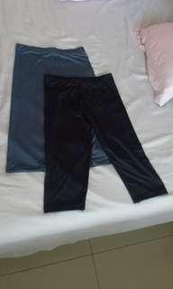 Legging selutut tiga perempat hitam abu