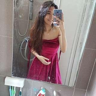 [PENDING] Self Tie Up Dress in Wine Red 😍