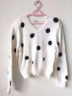 Knitted Polkadots Sweater Blouse Top (Knitwear)