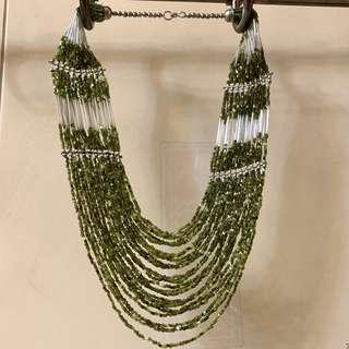 Classy Silver Green Bling Bling Necklace 銀綠民族風項鍊