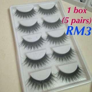 Clearance Stok Harga Modal Eyelashes RM3/box (5 Pairs)