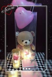 🚚 Teddy Bear/ Lasting flowers with led light 😍