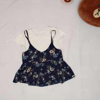 Floral top 2 in 1【RM50 and above free shipping!!】