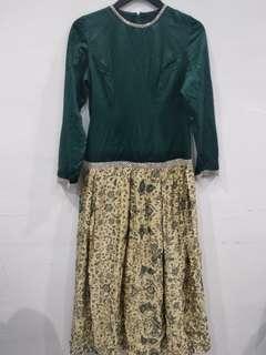 (REPRICE) Green Batik Long Dress