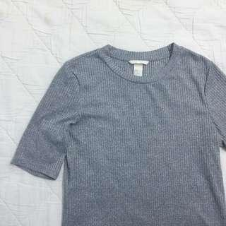 H&M Ribbed Grey Top
