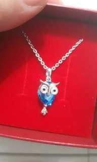🚚 純銀吊墬 《貓頭鷹 藍、》
