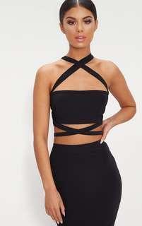 Black Slinky Tie Detail Bandeau Top