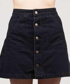 Wrangler Aline Mini 70's Black Denim Skirt
