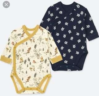 🚚 Uniqlo 2 Pack Disney Collection Long Sleeve Bodysuit