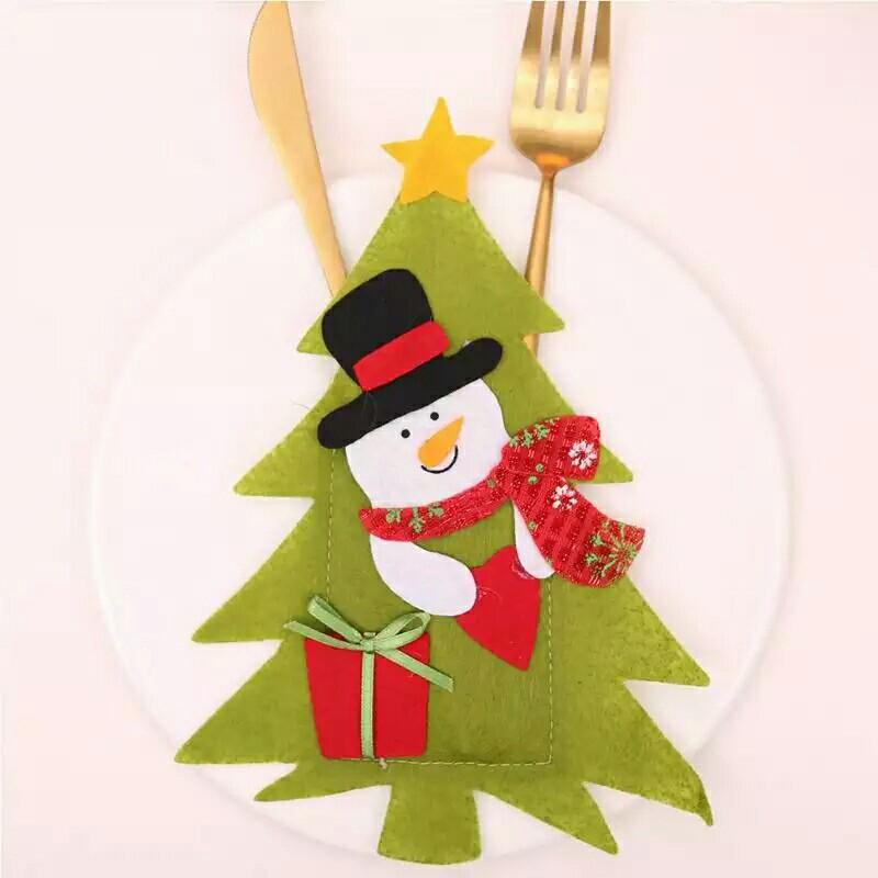 1pc Pocket Tree Christmas Tableware Decorations Fork Knife Kitchen
