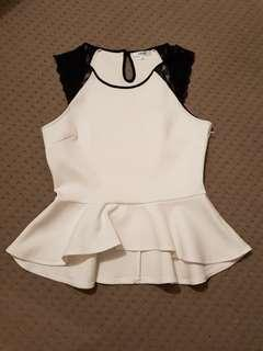 White Peplum Top with Black Lace Sleeves